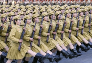 Pyongyang, North Korea. Soldiers march in Kim Il-sung Square to mark the 70th anniversary of the ruling Workers' party