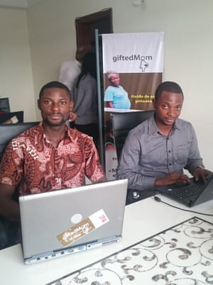 Gifted Mom's office in Cameroon, with Alain Nteff on the right.