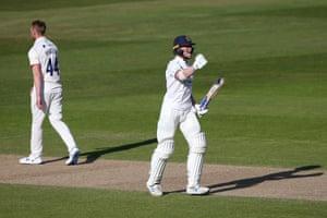 Rob Yates celebrates his century