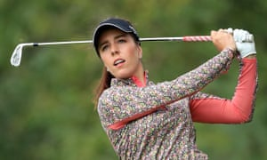 Georgia Hall plays a tee shot during the Rose Ladies Series. The leading English player has opted not to travel to the United States.