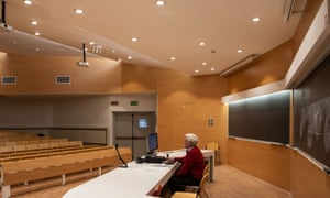 A teacher gives an online class at the Politecnico di Milano on 5 March in Milan, Italy.