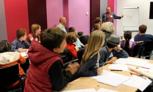 Families release their inner cartoonist skills with Harry Venning at Guardian cartoon and art family day, 10 October 2015.