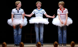 James Lomas, George McGuire and Liam Mower during the curtain call for world premiere of Billy Elliot the Musical.