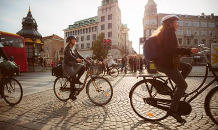 Cyclists on city street