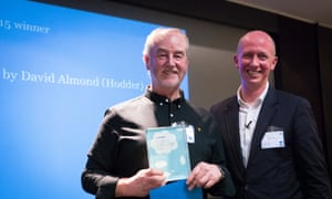 David Almond,  winner of the Children's Fiction Prize 2015, with last year's winner Piers Torday