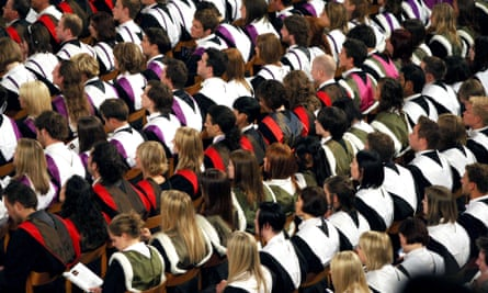 Students during a graduation ceremony