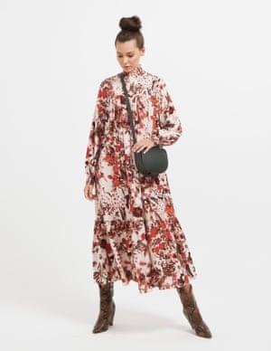 model wears dress, £34.99, hm.com. Bag, £79, cosstores.com. Boots, £325, essentiel-antwerp.com.