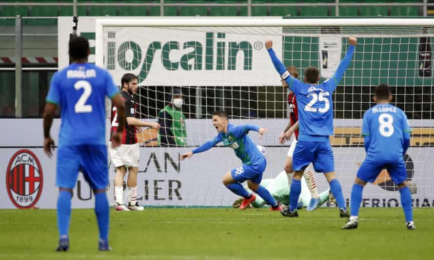 Sassuolo striker Giacomo Raspadori (No 18) celebrates after scoring the first of his two goals at San Siro.