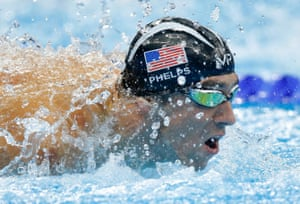 Michael Phelps on his way to silver during the men's 100m butterfly final at the Olympic Aquatics Centre in Barra Olympic Park