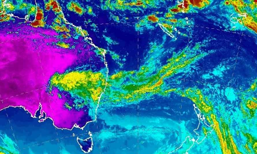 A low pressure system just off the northern NSW coast has generated an extensive area of middle and upper level cloud