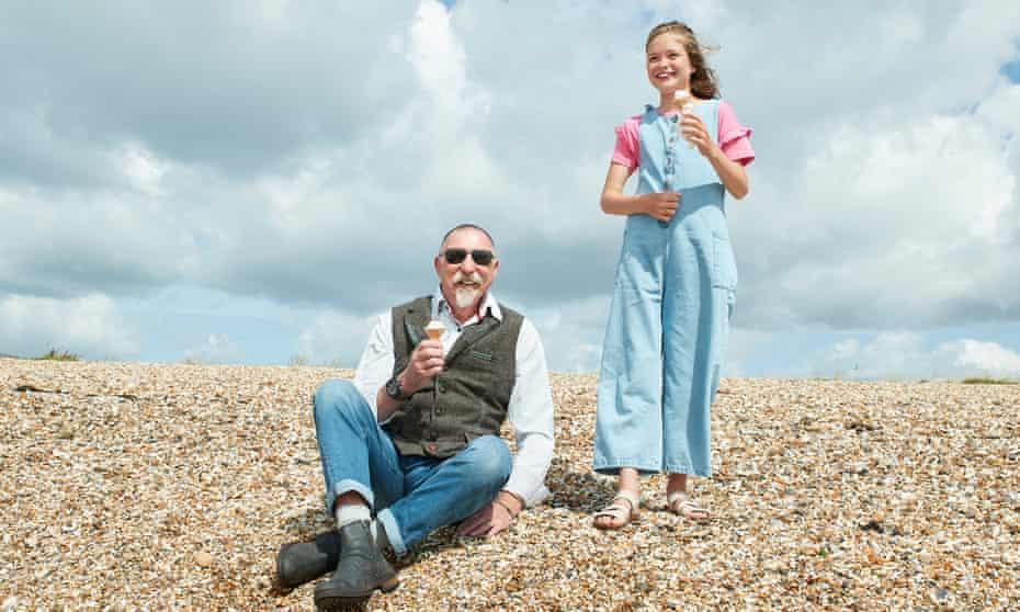Kiki Tautz and her grandad Pip Philips, on the beach in Gosport, Hampshire.