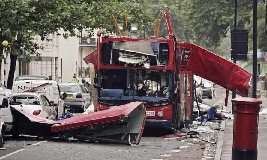 The bus destroyed by a terrorist's bomb in London's Tavistock Square, July 2005