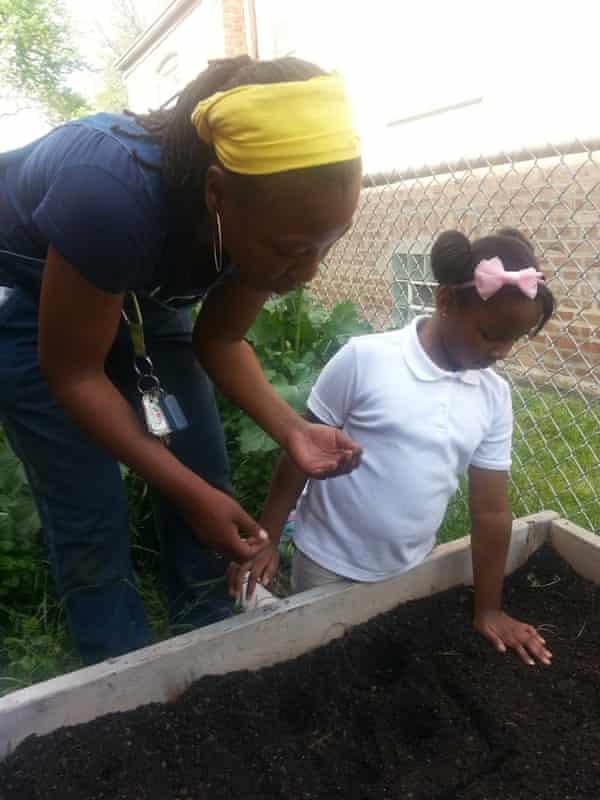 Jacqueline Smith teaches gardening at her garden in Chicago.