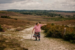New Forest commoner Ann Sevier stands on a public walking route in the New Forest.