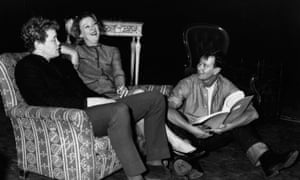 Dudley Sutton, left, with Joe Orton, right, and Madge Ryan, during rehearsals for Entertaining Mr Sloane, 1964.