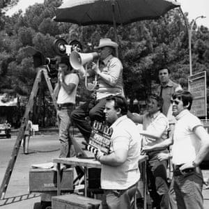 Fellini, with megaphone, directing Amarcord.