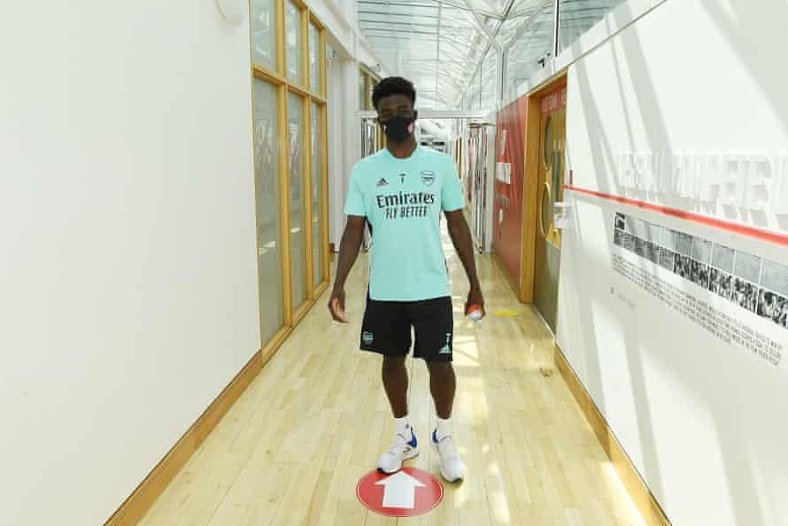 Bukayo Saka back in the Arsenal gym.