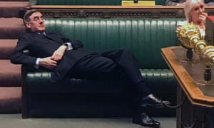 Jacob Rees-Mogg relaxing on the frontbenches during the Standing Order 24 emergency debate on a no-deal Brexit in the House of Commons in London on Tuesday 3 September