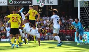 Sebastien Haller scores with an overhead kick.