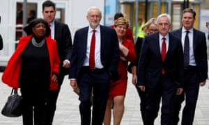 Labour leader Jeremy Corbyn and members of the shadow cabinet arrive at the Labour party conference in Liverpool.