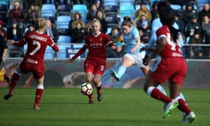 Abi McManus scores Manchester City's final goal in the 4-0 win over Liverpool which took them back to the top of WSL1.