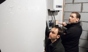 Tesla' home battery being installed.