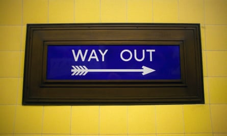 A 1930s Way Out sign in Southgate Underground station, London, UK