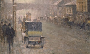 Detail from Oxford Road, 1910- by Adolphe Valette, Oxford Road, 1910. © Manchester City Galleries