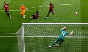 Miguel Almiron of Newcastle scores his team's third goal.