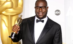 Director Steve McQueen in 2014 with his Oscar for 12 Years a Slave.