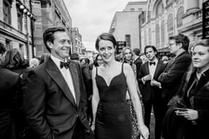 Stephen Campbell Moore and Claire Foy at the red carpet in front of the Royal Opera House, London 2016