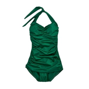 green gathered vintage style swimsuit