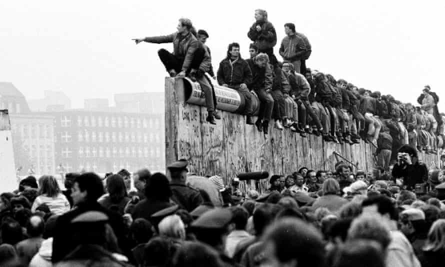 East and West Germans celebrate the fall of the Berlin Wall in 1989.