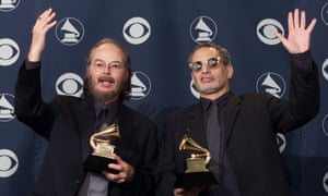 Walter Becker and Donald Fagen of Steely Dan celebrating their Grammy win for Two Against Nature in 2001.