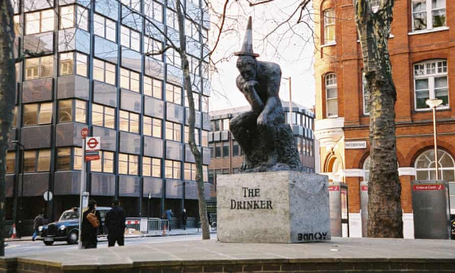 Banksy's sculpture on its original site near Shaftesbury Avenue, London.