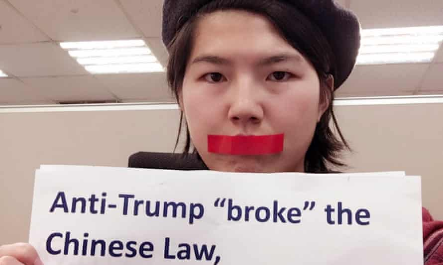 Li Maizi, a Chinese feminist, protests against Weibo suspending a popular account after criticising Donald Trump