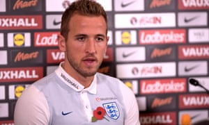 Harry Kane pictured during an England press conference on Tuesday.