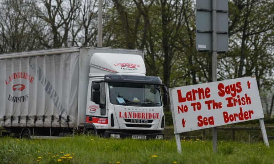 'Larne says no to Irish sea border' sign