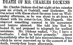 Death of Dickens as reported in the Manchester Guardian 10 June 1870