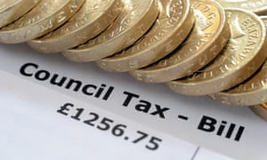 Council tax bill and pound coins