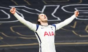 Gareth Bale celebrates scoring the equaliser for Tottenham.
