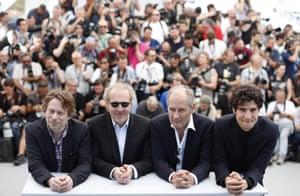 Mathieu Amalric, director Arnaud Desplechin, actors Hippolyte Girardot and Louis Garrel of Ismael's Ghosts,