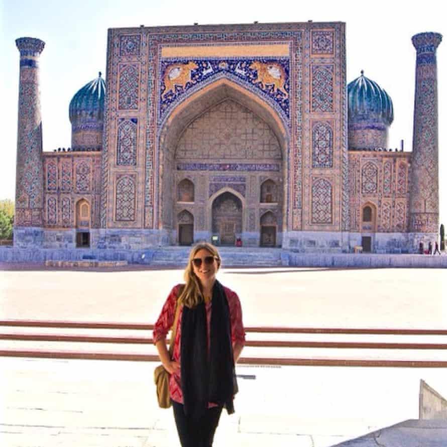 Caroline Eden in Samarkand at the Registan