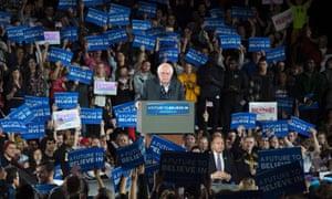 Bernie Sanders speaks at the University of Iowa on Saturday.