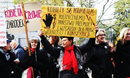 Women in Poland protest against restricted abortion laws.