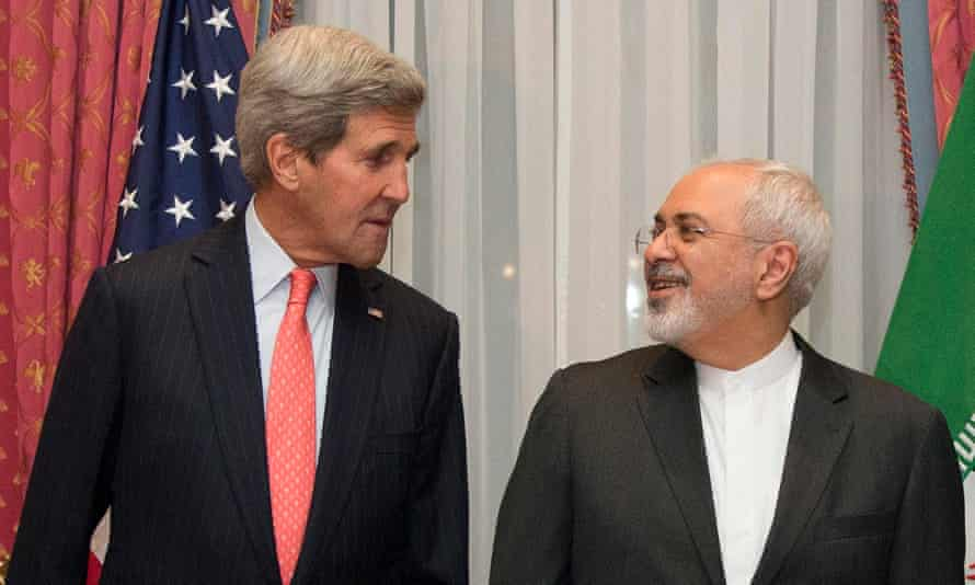 US secretary of state John Kerry and Iranian foreign minister Mohammad Javad Zarif during nuclear talks in Lausanne in 2015.