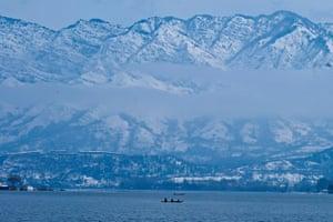 Dal Lake after heavy snowfall