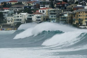 Large waves are seen during a huge swell at Bondi Beach in Sydney on Saturday.