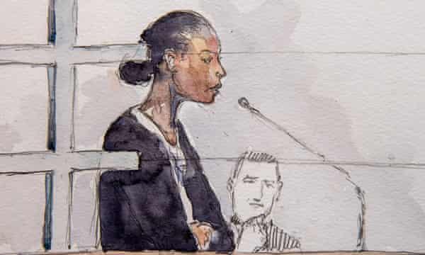 A court artist's sketch of Fabienne Kabou