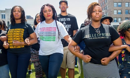 Between Black Lives Matter co-founders Opal Tometi and Patrisse Cullors in 2015.